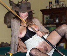 Naked mature women, cowboy in a big..