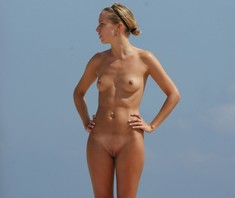 Young girls nudists on the beach nude